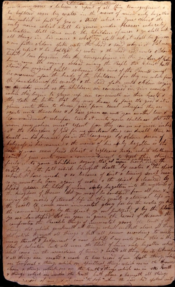 Old Testament Manuscript 1, page 14, Handwriting of Emma Smith (first 3 words) and John Whitmer (rest of page)