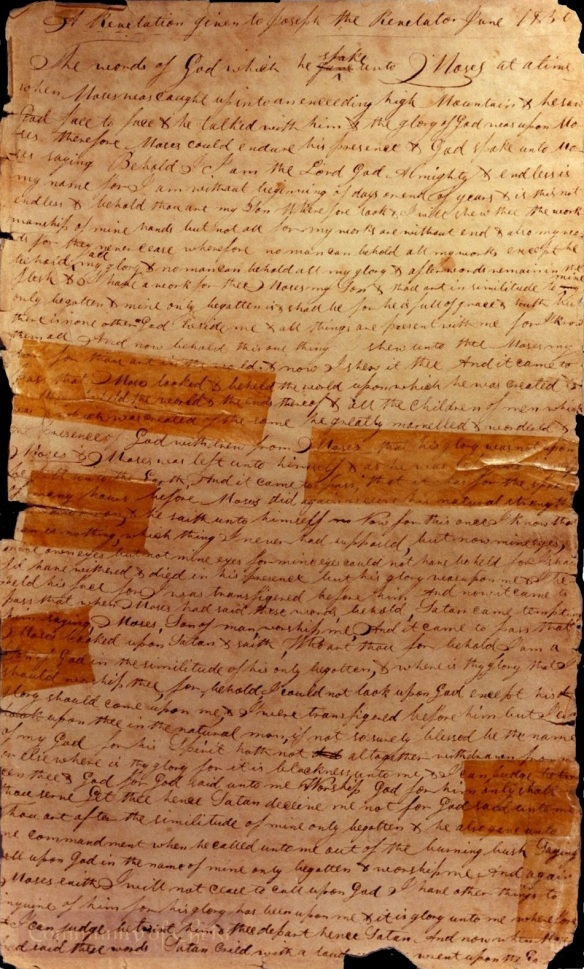 Old Testament Manuscript 1, page 1, Handwriting of Oliver Cowdery
