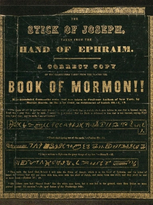 1844 Broadside of Book of Mormon Characters