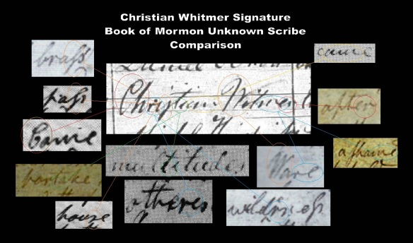 Christian Whitmer Signature comparison with Unknown Book of Mormon Scribe
