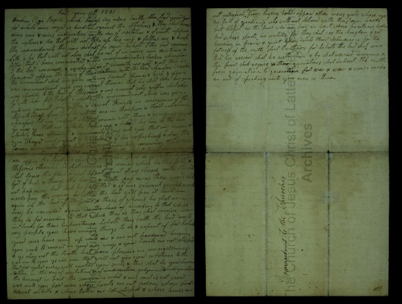 "June 15, 1831 ""Revelation"" (D&C 56) Handwriting of Christian Whitmer"