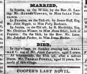 "Christian Whitmer Marriage Notice, Geneva Gazette, March 9, 1825, which misspells his name as ""Wilmer"" instead of ""Witmer""."