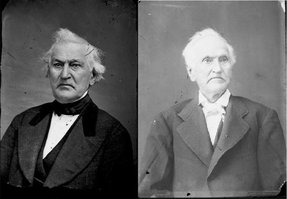 Photos of David Whitmer by Jacob Hicks. Left Photo taken in 1867 when David was 62 years old, Right Photo taken in 1882 when David was 77 years old.