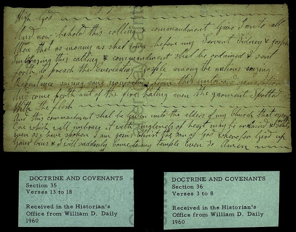 "Part of ""revelation"" given on Dec. 9, 1830. Handwriting of Christian Whitmer"