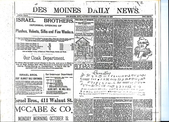 "Des Moines Daily News 16 Oct 1886, with facsimile of the torn ""Caractors"" Document."