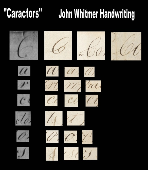 "John Whitmer's Handwriting compared with ""Caractors"" Document. Samples Taken from Revelation Book 1."