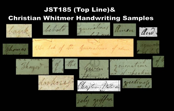 JST 185 Top Line Comparison with Christian Whitmer Handwriting
