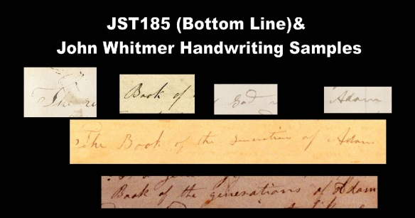 JST185 Bottom Line Comparison with John Whitmer Handwriting