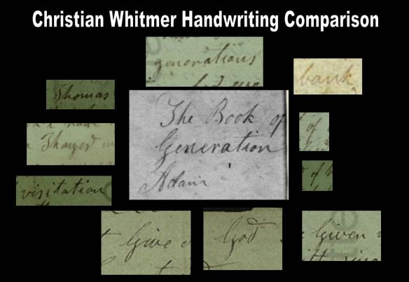 "Christian Whitmer Handwriting Comparison with Cover Title from the ""Caractors"" Document"