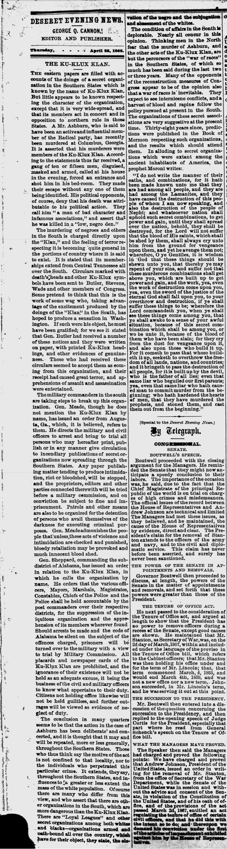 ku klux klan mormonite musings dn apr 23 1868 george cannon kkk