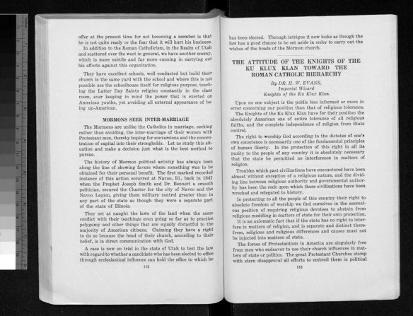 Papers Read at the Meeting of Grand Dragons Knights of the Ku Klux Klan at Their First Annual Meeting Held at Asheville, North Carolina, July 1923, pages 112-113.