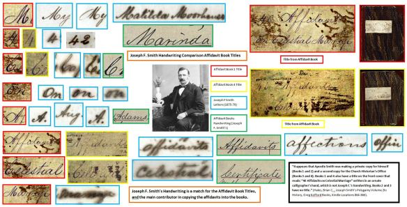 Joseph F. Smith Handwriting Comparison Affidavit Book Titles