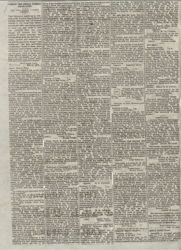 "Deseret Evening News, October 22, 1879 giving chronology of many of Smith's ""marriages""."