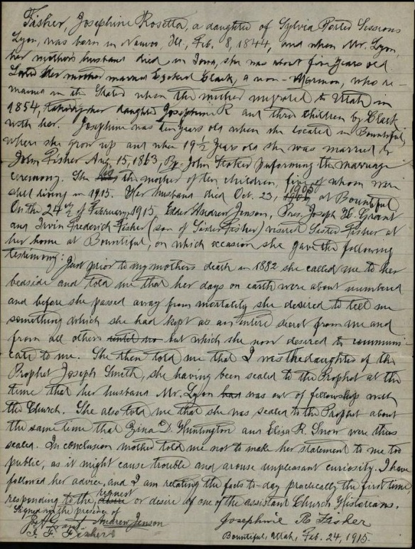 Josephine Fisher Affidavit 1915