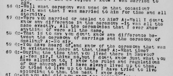 "Malissa Lott Willes Temple Lot Testimony, ""Marriage and Sealing"" the same"