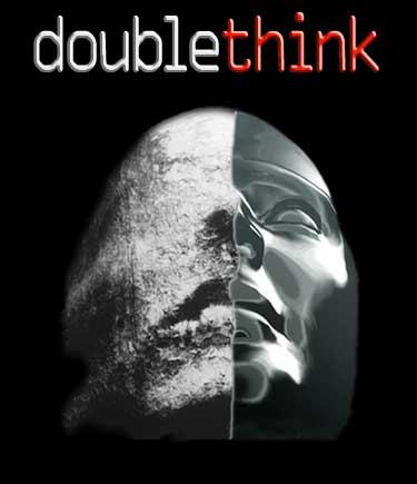 What is an example of doublethink in modern news stories?