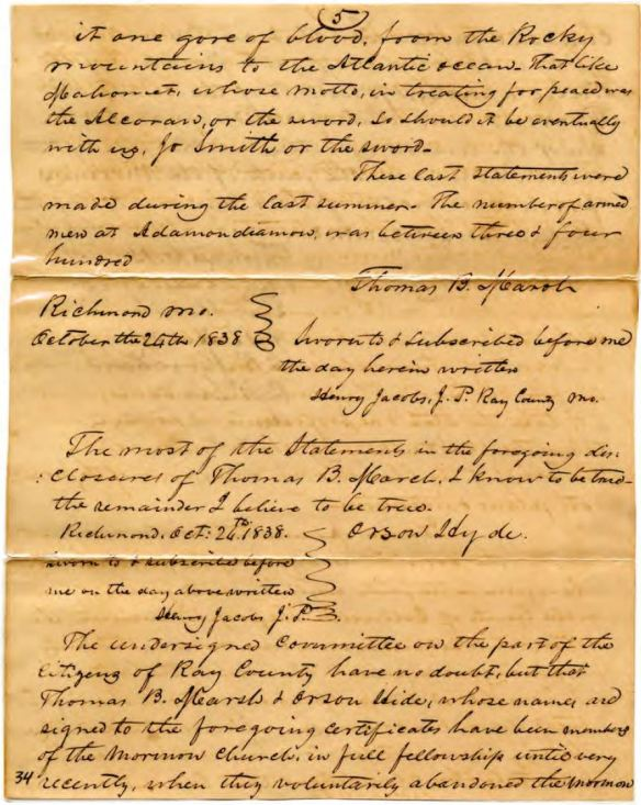 Affidavit of Thomas Marsh, October 24, 1838. PDF