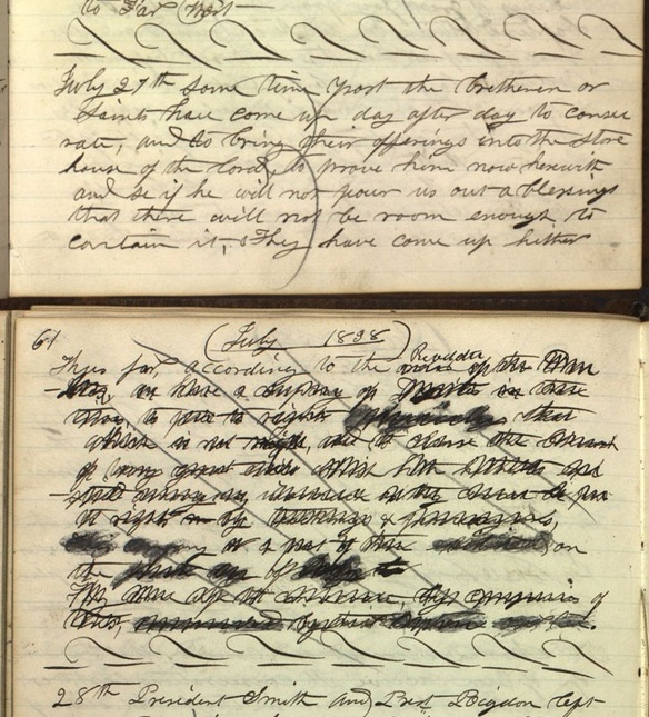 Scriptory Book 1, p. 60-61, July 27, 1838. The Text about the Danites was later crossed out.
