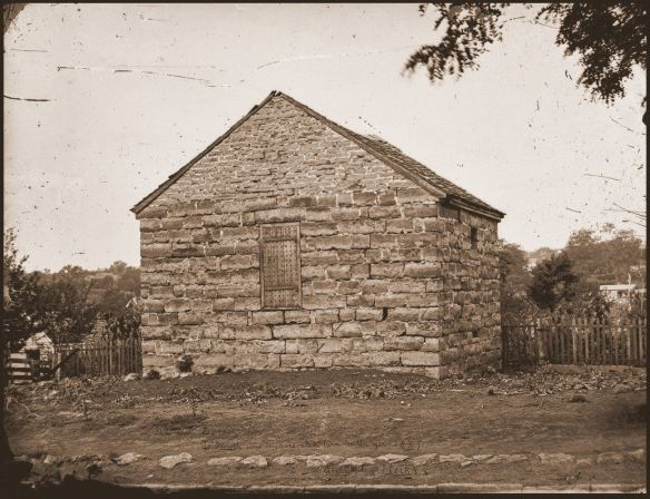 """Old Jail, Liberty, Missouri, Jo Smith was incarcerated here in the year 1837, Photo by [Jacob T.] Hick's"